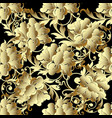 baroque gold 3d flowers seamless pattern vector image vector image