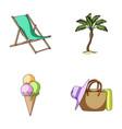 beach palm tree ice creamsummer vacation set vector image