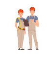 builders man and woman in gray overalls vector image vector image