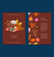 cartoon autumn elements and leaves card or vector image vector image