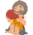 cartoon caveman eating meat vector image vector image