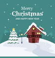 christmas landscape card of house and tree in the vector image