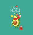 cute avocado wish you a happy new year vector image vector image