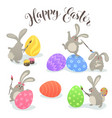 easter bunnies collection vector image vector image