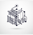 engineering technological black and white 3d vector image