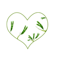 Evergreen Leaves in A Heart Shape Border vector image