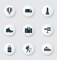 exploration icons set with sneaker pickup