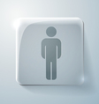 Glass square icon silhouette of a man vector image