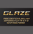 glaze shiny golden display font design alphabet vector image