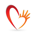 Heart and hand logo vector image vector image