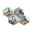 isometric business offices with different vector image