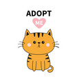 orange cat silhouette adopt me pink heart pet vector image vector image