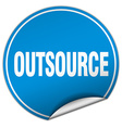 outsource round blue sticker isolated on white vector image vector image