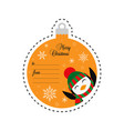 penguin in a knitted hat and scarf merry vector image