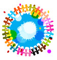people holding hands with splashes colorful vector image vector image