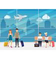 people sitting and walking in airport terminal vector image vector image