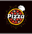 pizza restaurant promotional emblem with chef hat vector image