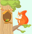 Red fun squirrel invites to his home the hollow vector image vector image