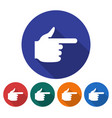 round icon of hand with forefinger pointing vector image vector image