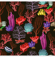 seamless pattern with sea inhabitants and herb vector image vector image