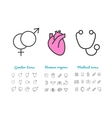 set linear icons gender human internal vector image