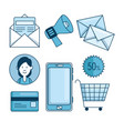 set of email marketing and email advertising vector image vector image
