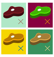 set of steak flat icon isolated on background vector image vector image