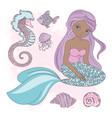 sitting mermaid princess sea animal vector image vector image
