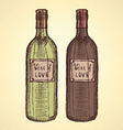Sketch wine bottle in vintage style vector image vector image