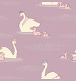 swan pond with lemna on lilac seamless vector image vector image