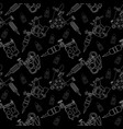 Tattoo machines and ink pattern Black and white vector image vector image
