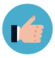 thumb up icon on round blue background vector image vector image
