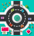 Top View Flat Design Roundabout Crossroad vector image