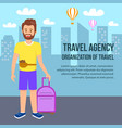 travel agency square banner young man with luggage vector image vector image