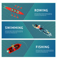 water sport horizontal banners set people vector image vector image