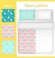 white blank and cute alpaca bed linen set vector image vector image