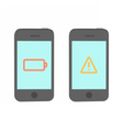 Two phones with problems vector image