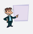 angry white businessman is showing vector image vector image