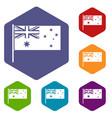 australian flag icons set hexagon vector image vector image