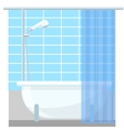 Bathroom interior poster or promo flyer bathtub in vector image