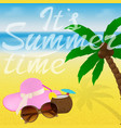 beach with sunglasses cocktail starfish and hat vector image vector image