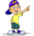 boy pointing away vector image vector image