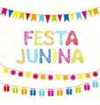 Brazil june party Greeting card festive garlands vector image