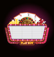 brightly theater glowing retro casino neon sign vector image vector image