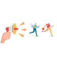 business characters running to work office vector image