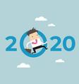businessman jump throw zero in number 2020 vector image vector image