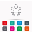 Car wash icon Cleaning station with water drops vector image vector image