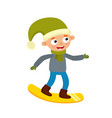 cartoon teenaged boy with snowboard cartoon vector image
