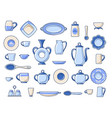 ceramic crockery sketch icons set vector image vector image