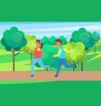 children running in park set cartoon icon vector image vector image